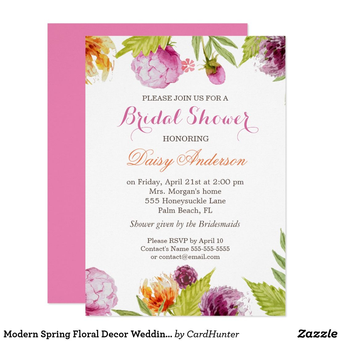 Modern Spring Floral Decor Wedding Bridal Shower Card