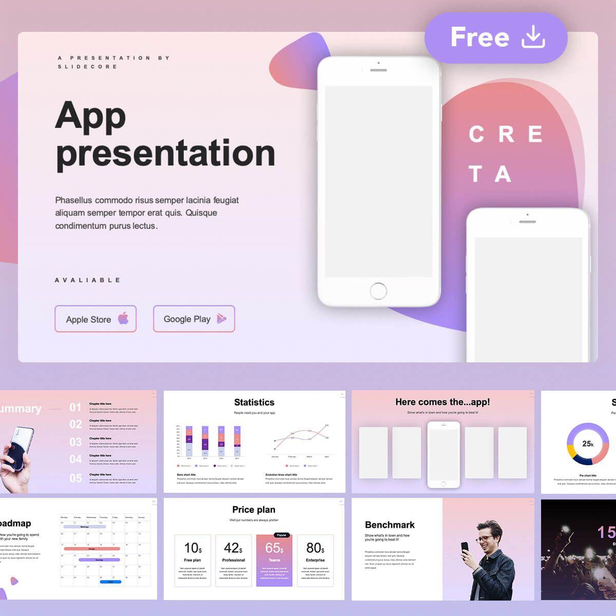 Creta Free App Presentation Powerpoint Google Slides Template By Slidecore Presentation App Presentation Slides Design Powerpoint Slide Designs