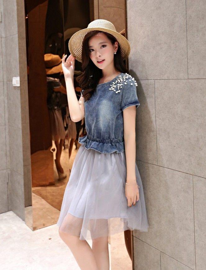 Denim Dress With Pearls Diamonds Encrusted Diamond Gathered Waistline Asian Clothing Fashion Uk