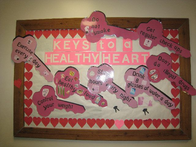 Mental health bulletin board ideas keys to a healthy for Heart shaped bulletin board