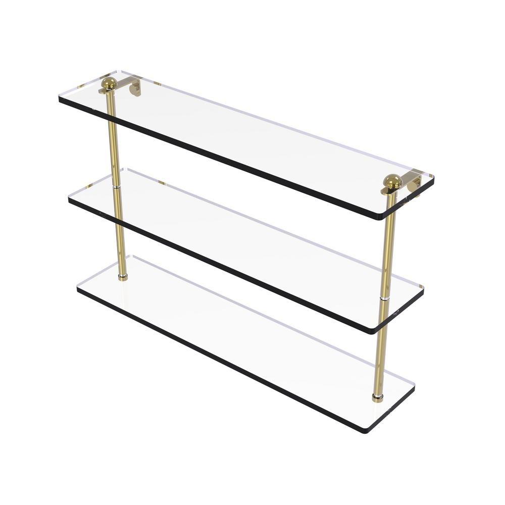 Allied Brass 22 in. Triple Tiered Glass Shelf in Unlacquered Brass