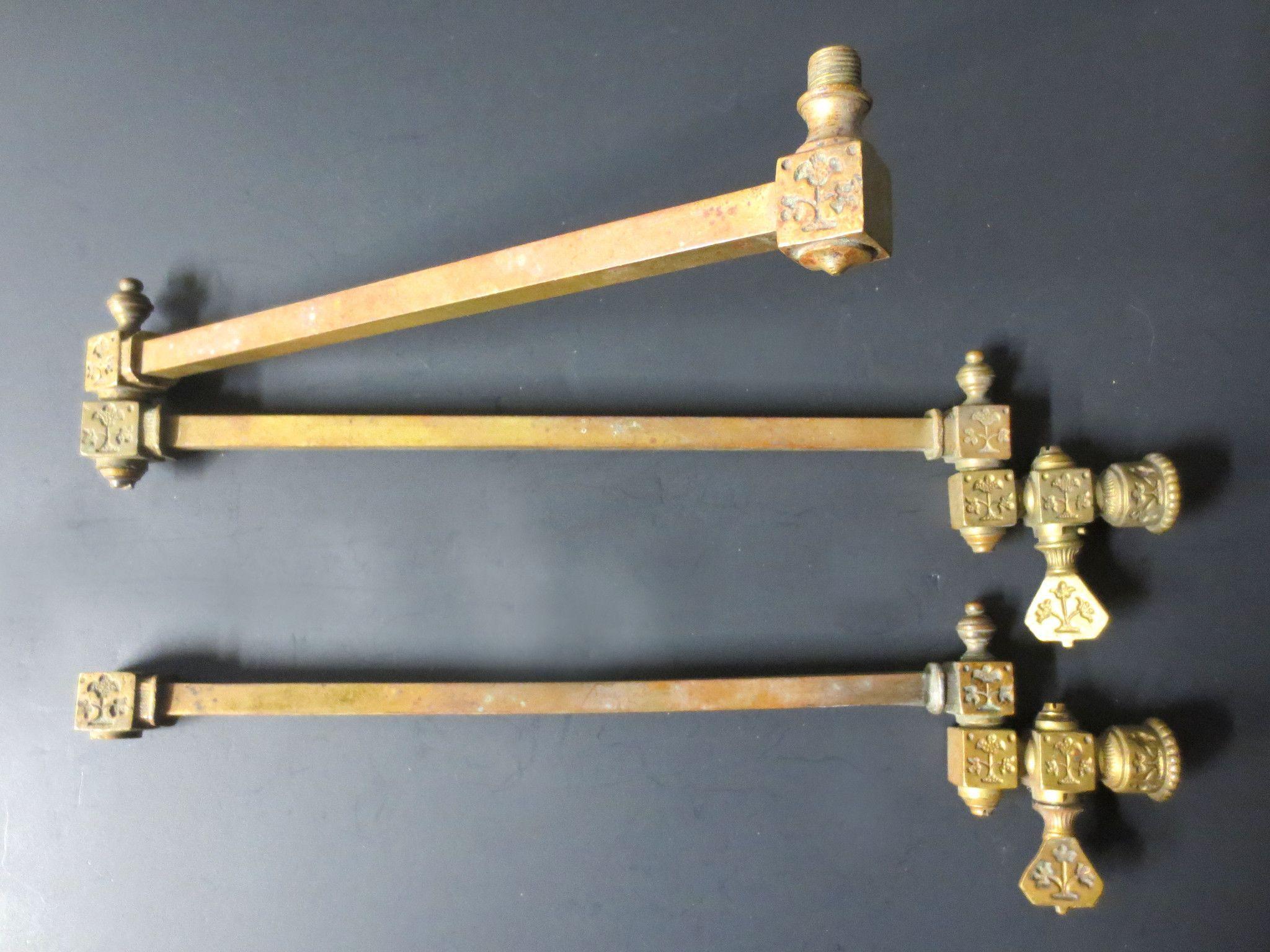 Pair antique victorian brass gas lamp light arms ornate swivel oil pair antique victorian brass gas lamp light arms ornate swivel oil lamp fixture arubaitofo Images