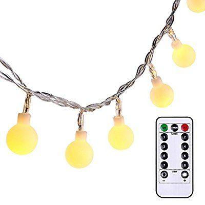 QederTEK Globe String Lights 174 ft 50 LED Battery Powered Fairy