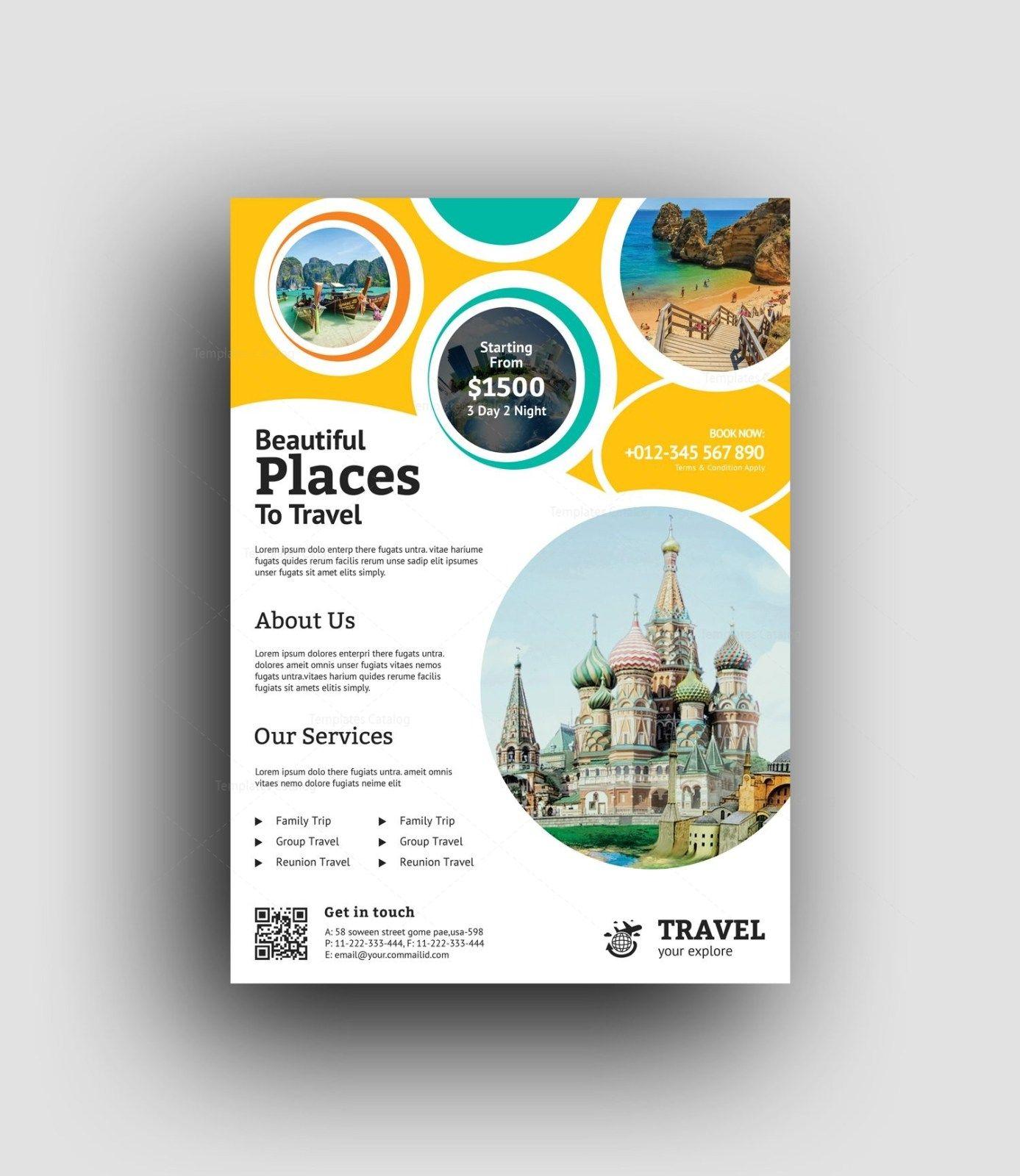 Premium Travel Agency Flyer Design Template 001480