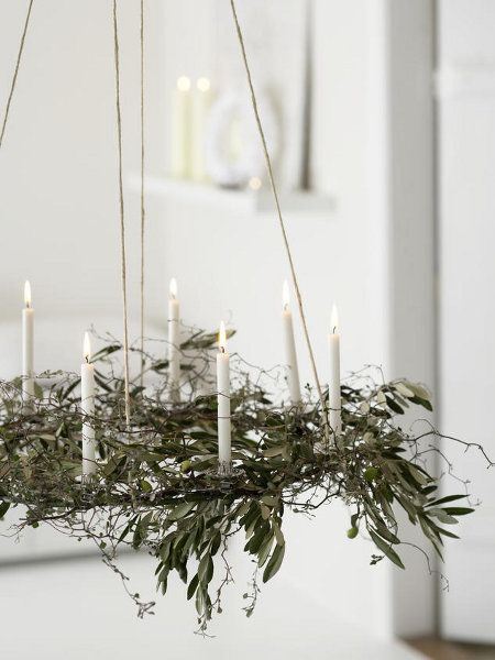 Photo of Olive branch decorate Christmas idea chandelier white candles | Christmas |