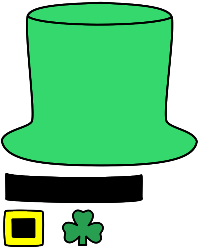 Leprechaun hat paper craft color template crafts for Leprechaun hat template printable