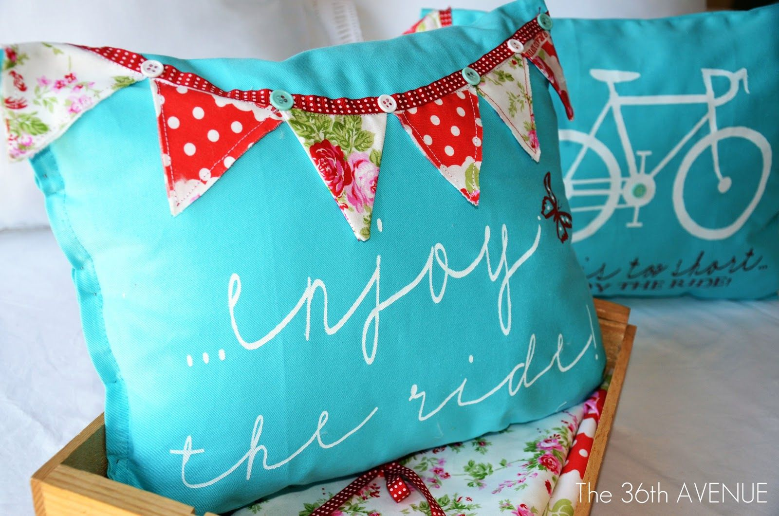 Enjoy the ride stenciled pillows stenciling and pillows