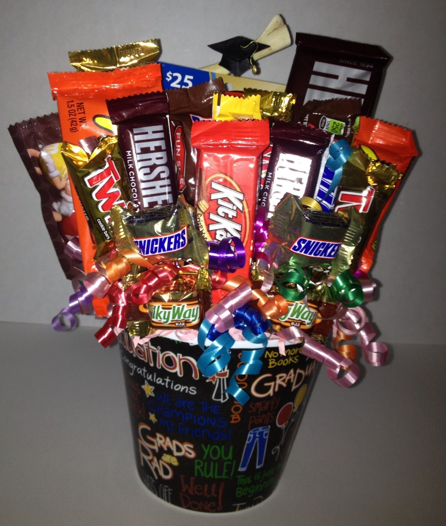 Graduation candy bouquet with gift card