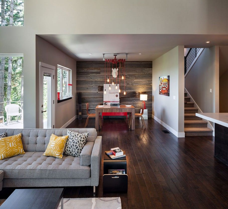 Elegant Living Area With Modern Rustic Decor Using Grey Fabric Sofa And Yellow Modern Rustic Living Room Minimalist Living Room Small Living Rooms