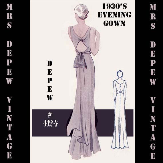 Vintage Sewing Pattern 1930\'s Evening or Wedding Gown in Any Size ...