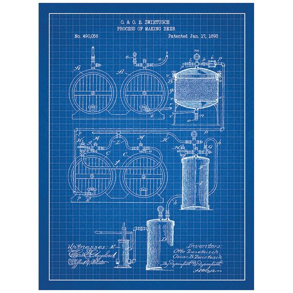 Process of making beer alcohol and spirits patent poster process of making beer alcohol and spirits patent poster blueprint style screen print malvernweather Images