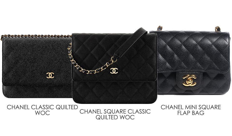41b7577b8290 Chanel Square WOC Comparison | Chanel handbags | Chanel, Chanel ...