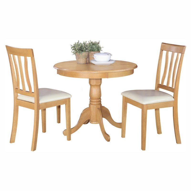 East West Furniture Antique 3 Piece Pedestal Round Dining Table Set with Faux Leather Seat - ANTI3-