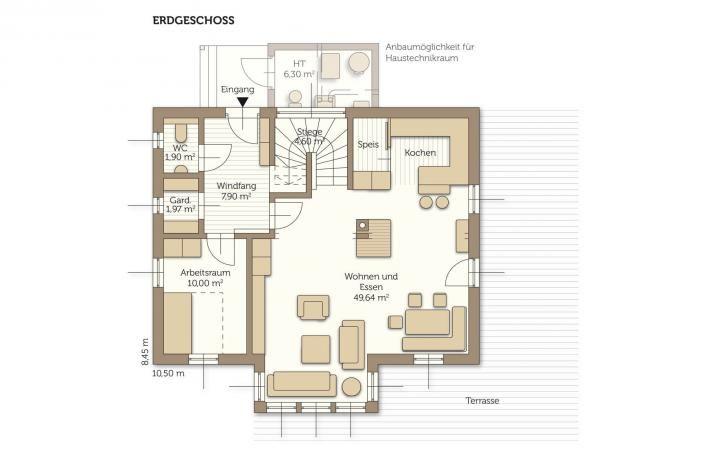 Fertighaus Combino Sole - Grundriss Erdgeschoss Grundrisse und - offene kuche wohnzimmer grundriss