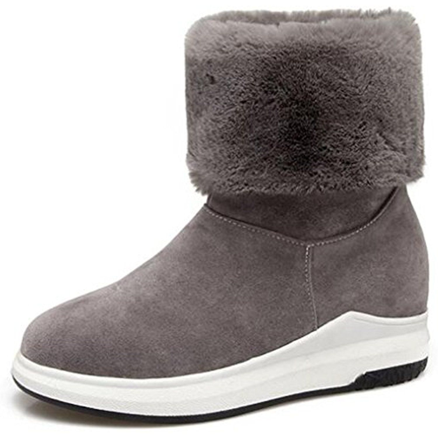Women's Comfy Faux Fur Lined Pull On Short Ankle High Snow Boots Mid Wedge Heels