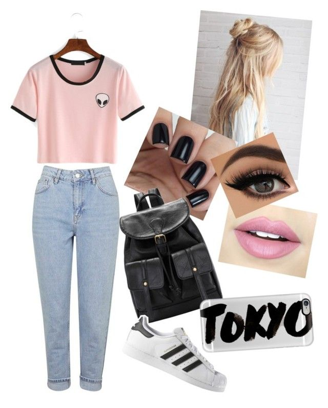 """""""Literally Me RN"""" by xfiles11bby ❤ liked on Polyvore featuring Topshop, Fiebiger, adidas and Casetify"""