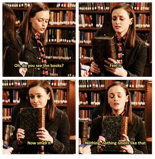 Image result for rory gilmore smells books