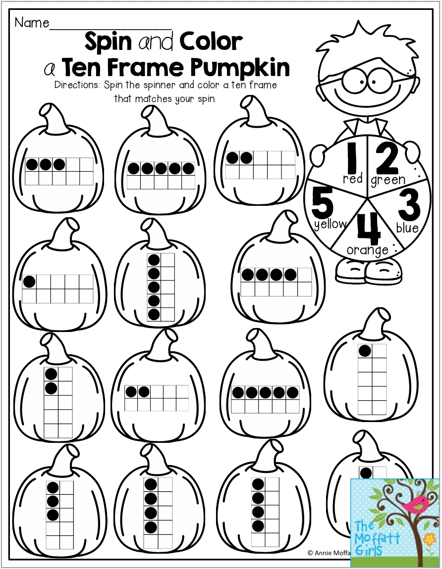 Spin and Color a Ten Frame Pumpkin- Use a paperclip and