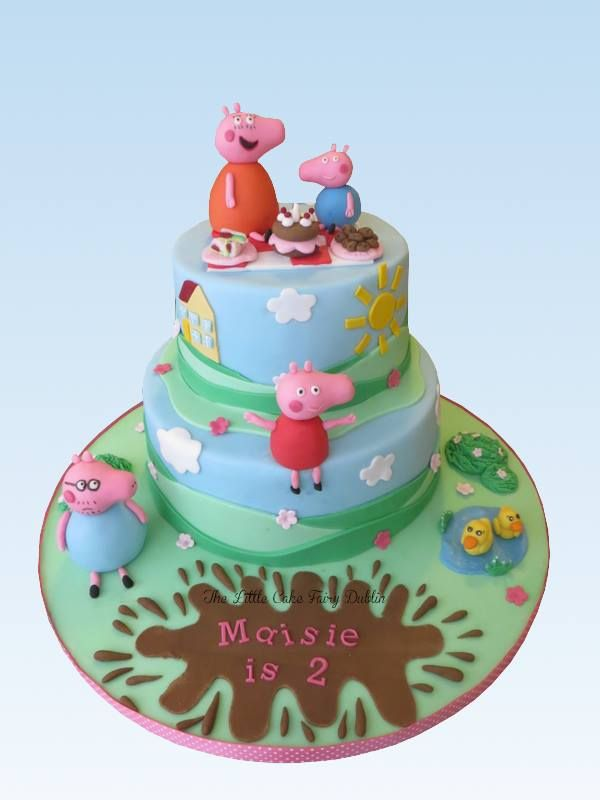 Peppa Pig And Family Two Tier 2nd Birthday Cake Www