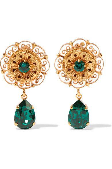 913e60e70 Dolce and Gabanna Gold-plated Swarovski crystal clip earrings US$412 ...