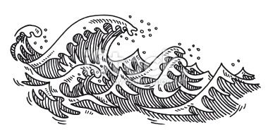 Hand Drawn Vector Drawing Of Some Ocean Waves Black And White Sketch Ocean Drawing Wave Drawing Ocean Wave Drawing