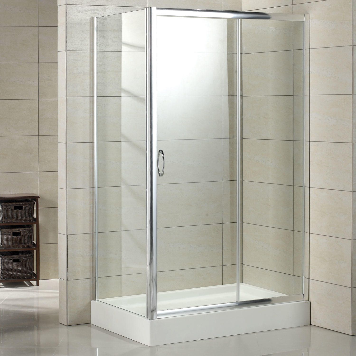 46 X 34 Kepner Reversible Corner Shower Enclosure With Tray Left Drain Polished