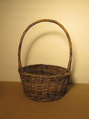 "Old vtg wicker #branches easter basket #round 7-3/4"" diameter handle fruit #craft,  View more on the LINK: 	http://www.zeppy.io/product/gb/2/252394513379/"