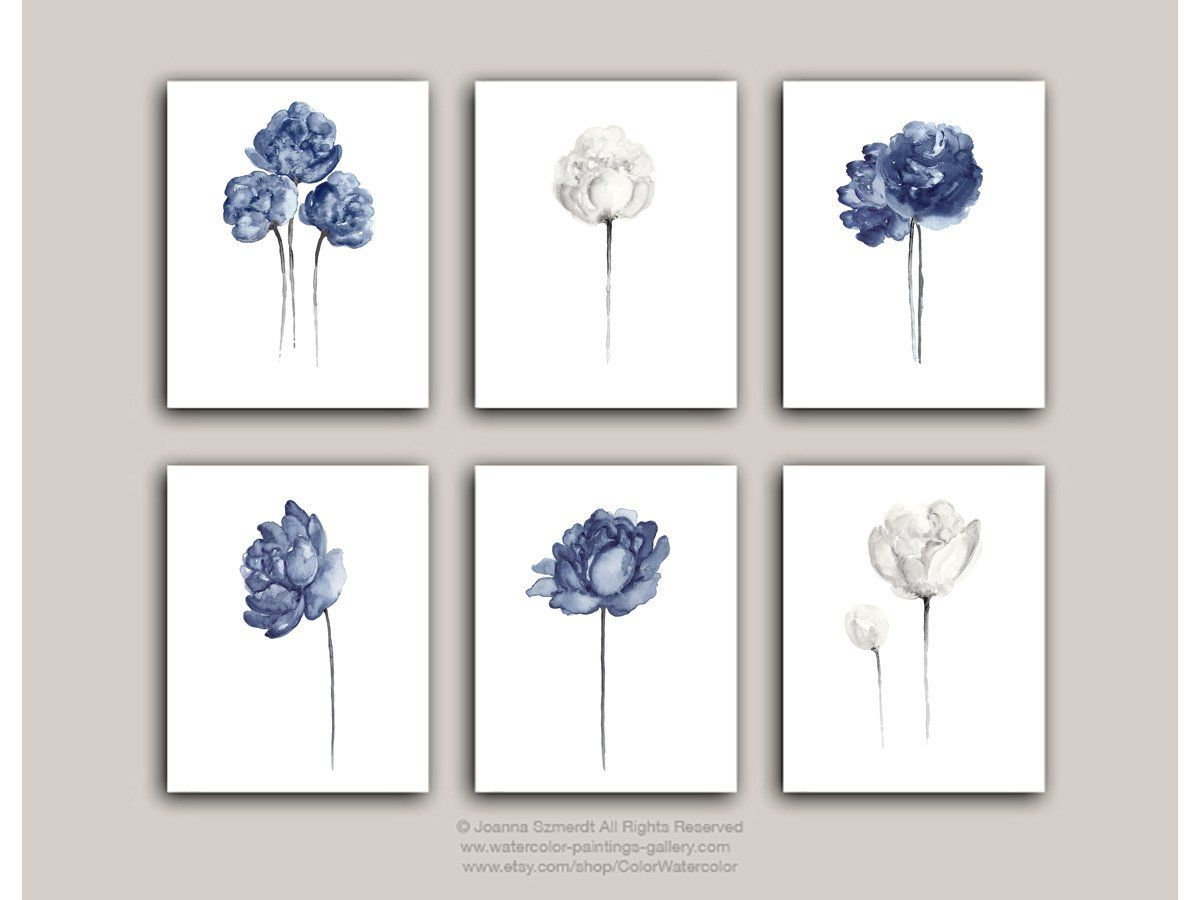 Peony Flower Art Print Set 6 Navy Blue Peonies Botanical Entryway