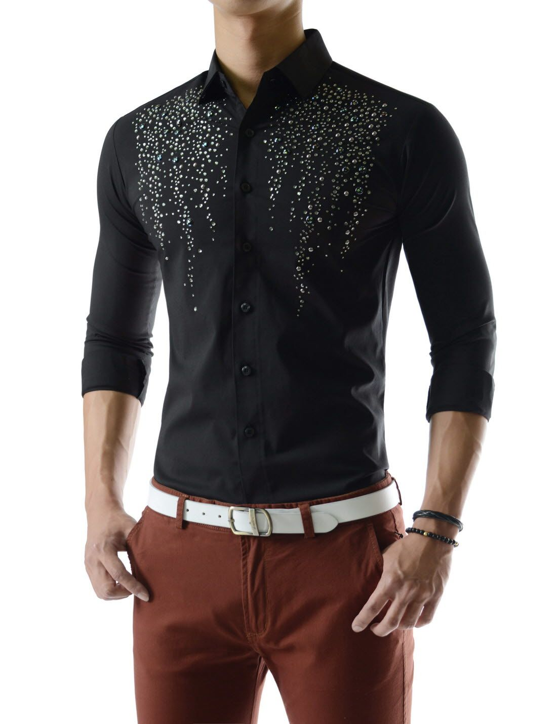 Splendid Stretchy Shine Rhinestones Long Sleeve Metallic Beads Shirts
