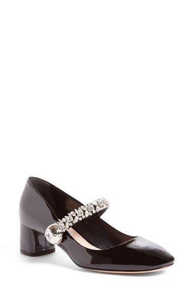 301edbcffaa3 A crystal-encrusted mary jane strap lends opulent glimmer to a mirror-shine  leather pump set on a sculptural block heel. Miu Miu Jewel-Strap Mary Jane  Pump