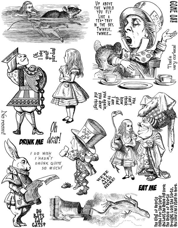 Alice in Wonderland Set #4 Unmounted Rubber Stamp Sheet