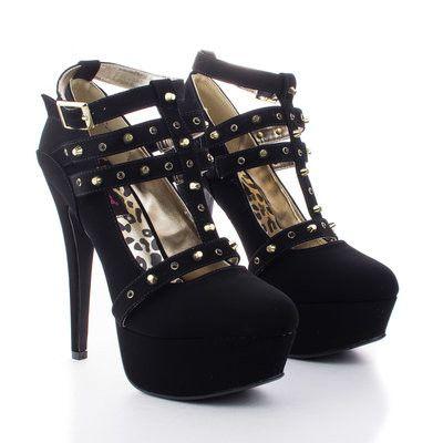 Dollhouse Spiked Black Heels