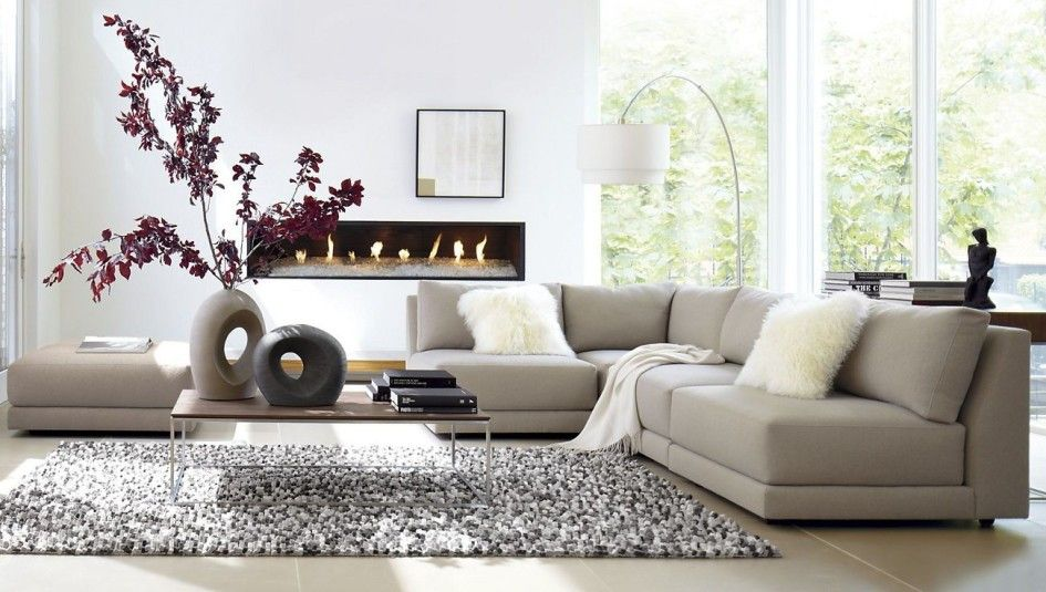 Merveilleux Interior, Minimalist Living Room Accessories Light Grey Sectional Sofa White  Fur Cushion Stunning Wall Fireplace