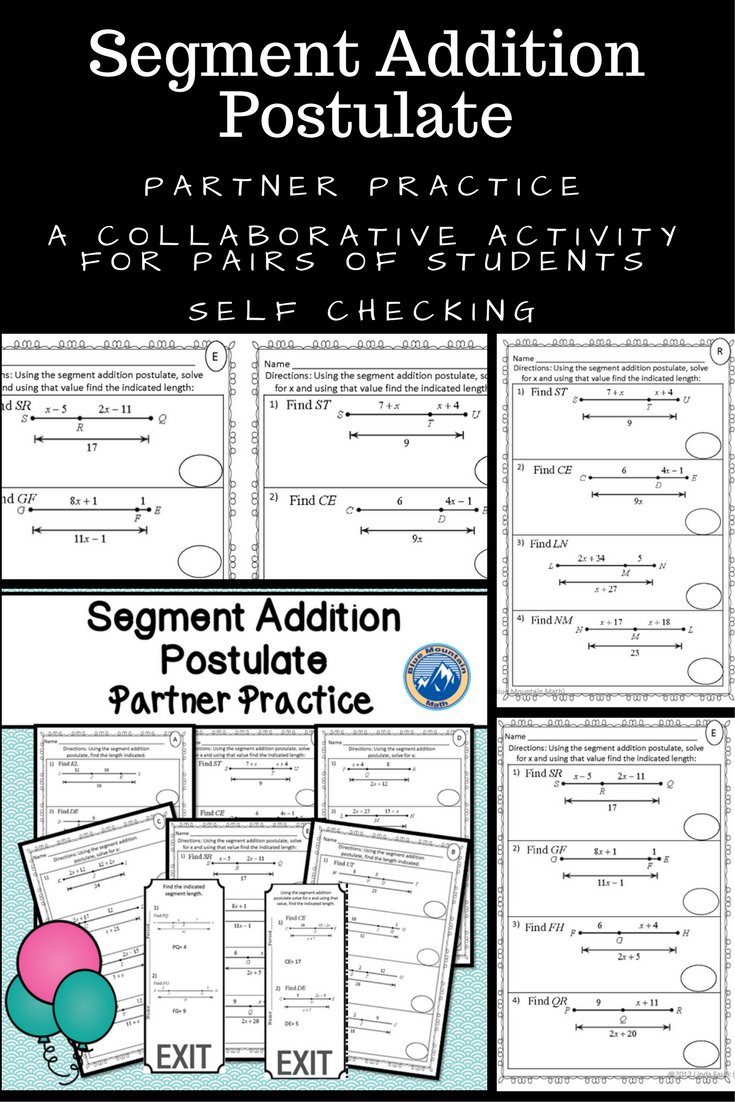 Segment Addition Postulate Partner Practice | Geometry