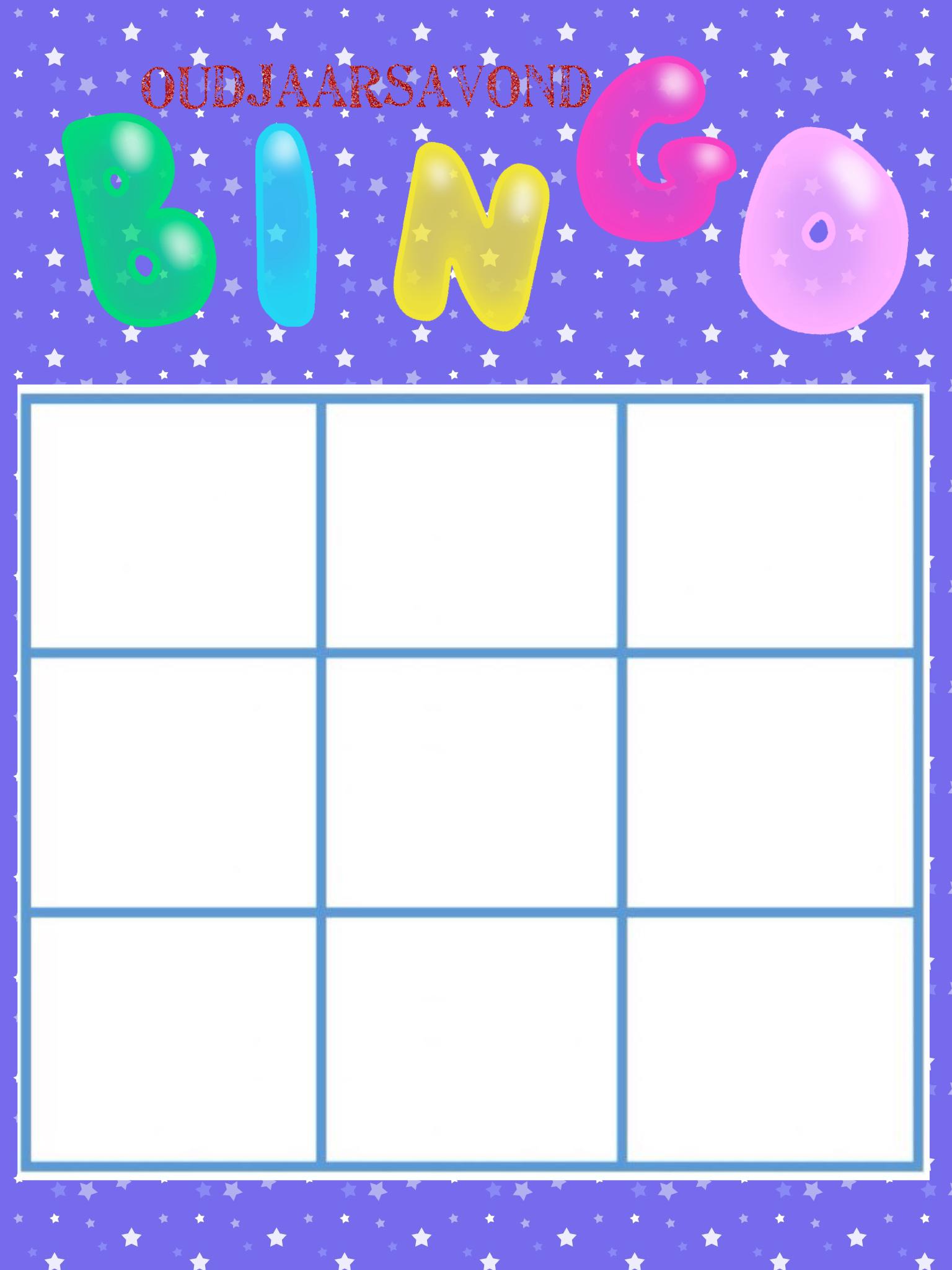 Oudjaar Bingo Lege Kaart Voor Oud En Nieuw Kerst Bingo