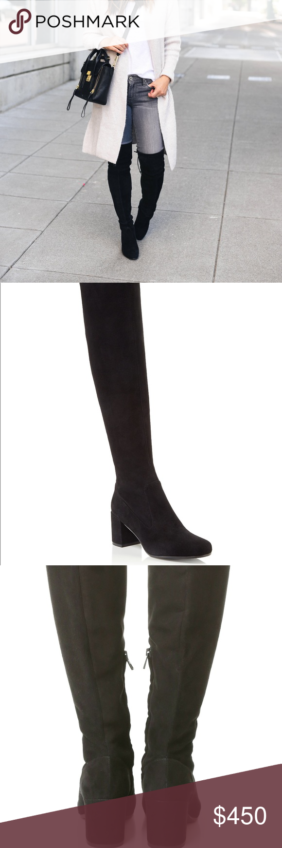 60924e01a29 Vince Blythe Over the Knee Boots Refined Vince over-the-knee boots cut from  smooth suede. Inset side zip at the ankle and hidden elastic insets at the  top ...
