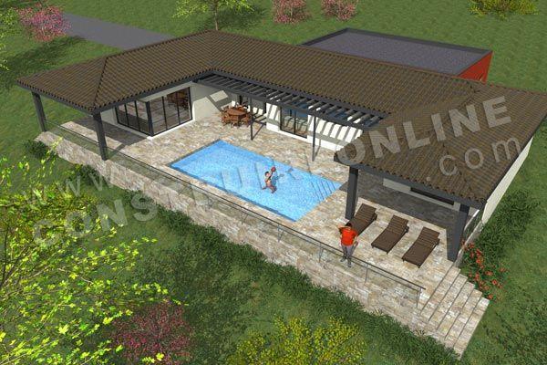Plan de maison moderne terrain pente FAIRWAY vue dessus maison