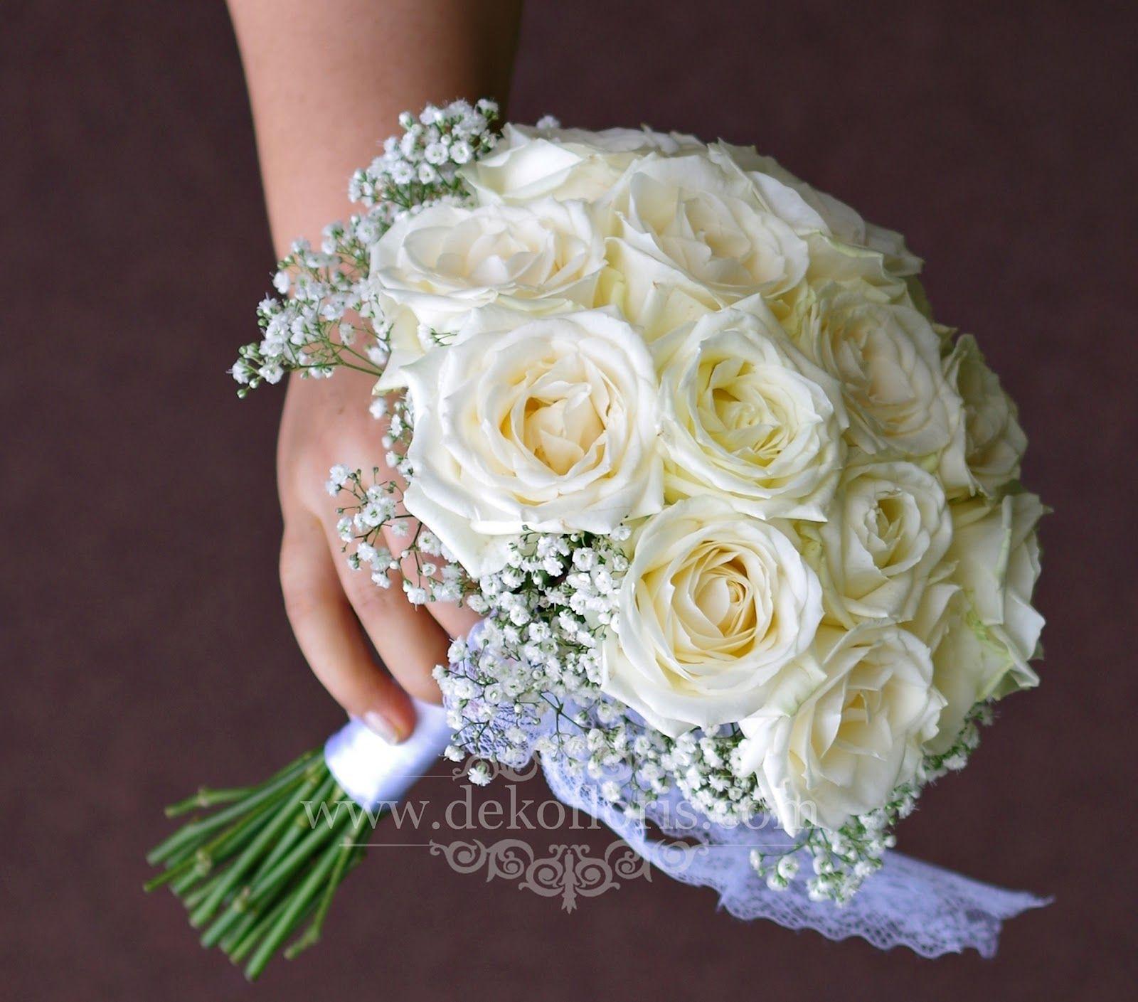 Bukiet Slubny Biale Roze I Gipsowka Opolskie Wedding Brautstrauss Whiteroses Www Dekofloris Com Wedding Flower Girl Dresses Wedding Dresses