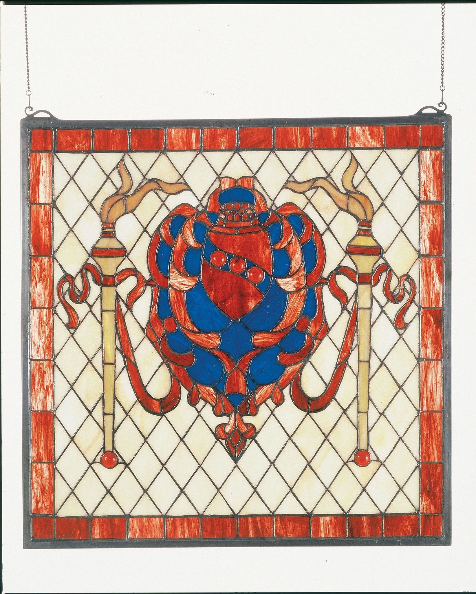"""20""""W X 20""""H Victorian Shield Stained Glass Window"""