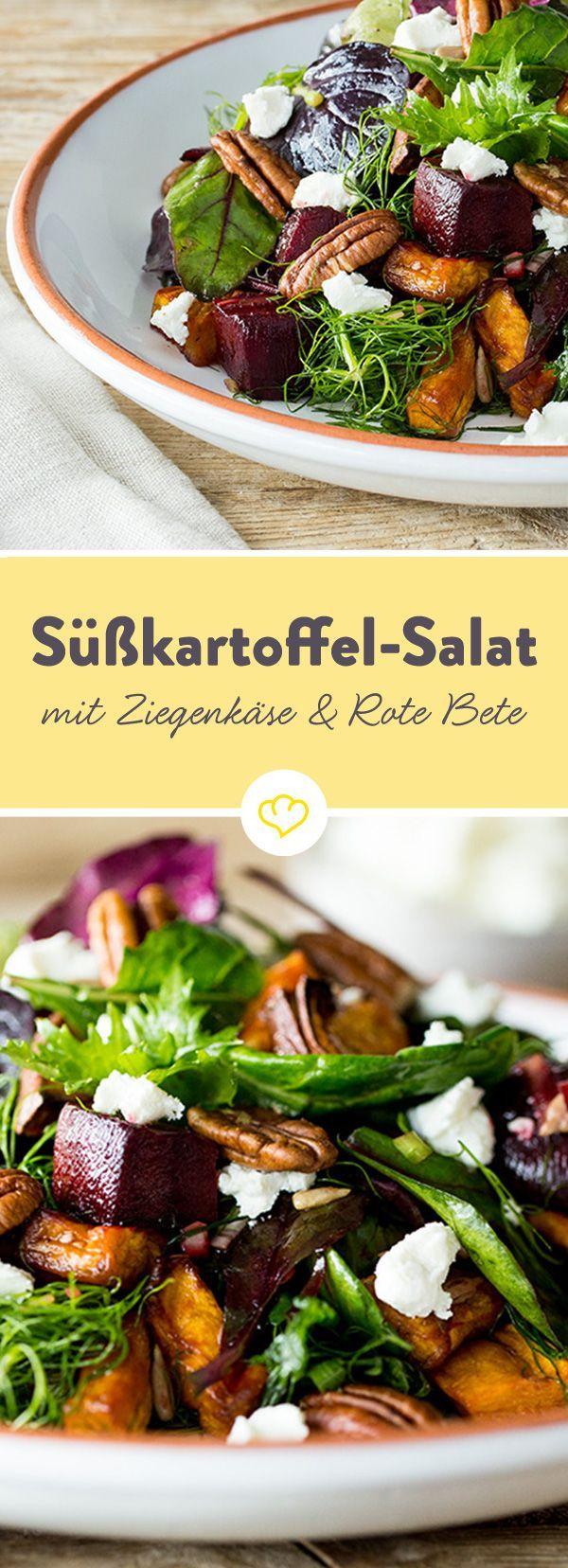 Süßkartoffel-Salat mit Rote Bete, Ziegenkäse und Pekannüssen #sweetpotatorecipes