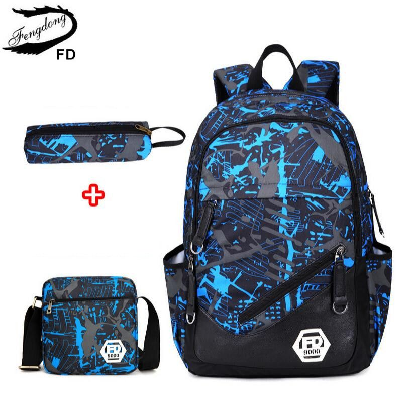 c6087b3b2ce FengDong waterproof oxford fabric boys school bags backpack for teenagers  pencil case blue book bag boy one shoulder schoolbag