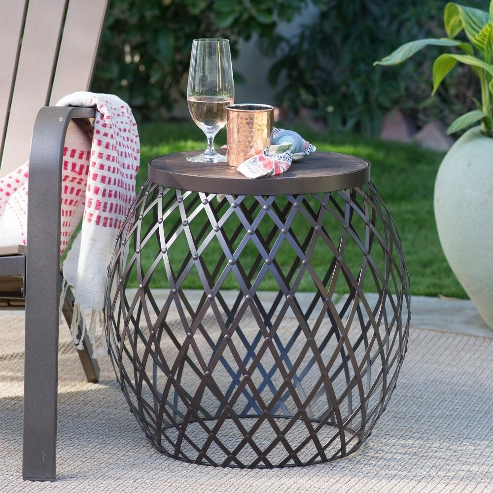 Coral Coast Darby 20 In Round Metal Patio Side Table With Wood