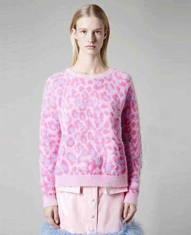 Morpheus Boutique - Pink Leopard Knit Long Sleeve Sweaters ...