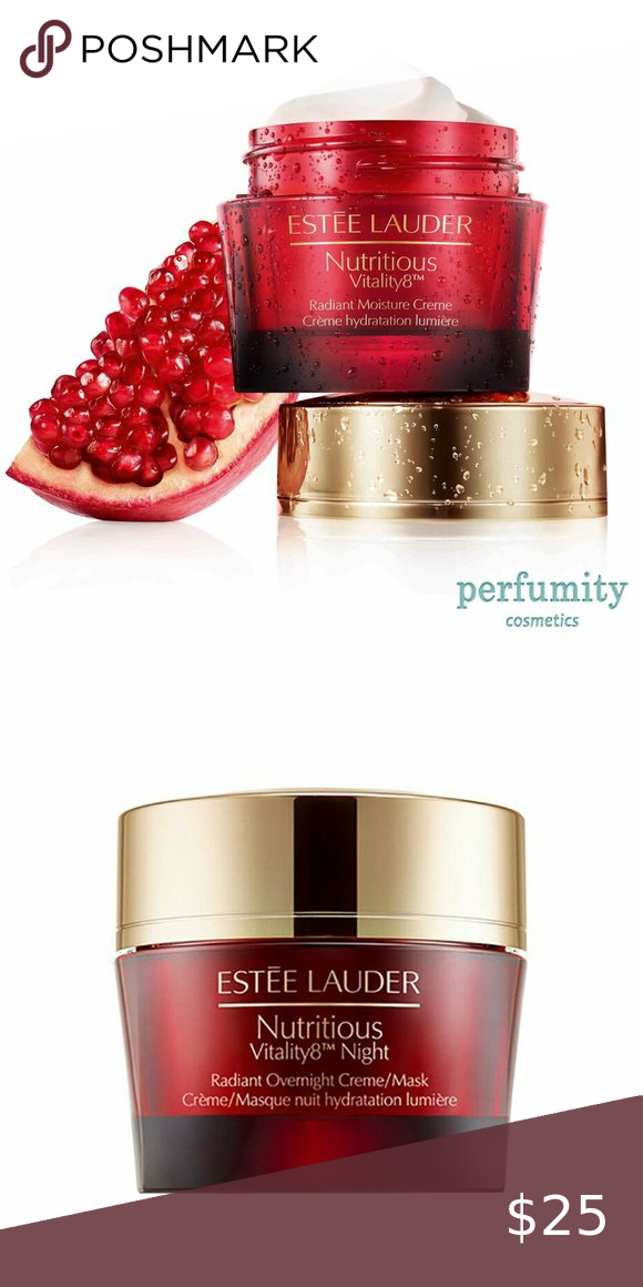 Estee Lauder Nutritious Vitality 8 Night Cream NWB Estee Lauder Nutritious Vitality 8 Night Radiant Overnight Cream Mask 1.7z oz NEW AUTHENTIC  New without box  PRODUCT FEATURES Brand: Estée Lauder Formulation: Cream Target Area: Face Type: Night Cream Size: Full Size 1.7 oz Retail price: $72 UPC: 887167116665 Country/Region of Manufacture: United States  We always offer the lowest prices! Guaranteed! 14 days return policy, WE PAY FOR RETURN SHIPPING. Estee Lauder Skincare Moisturizer