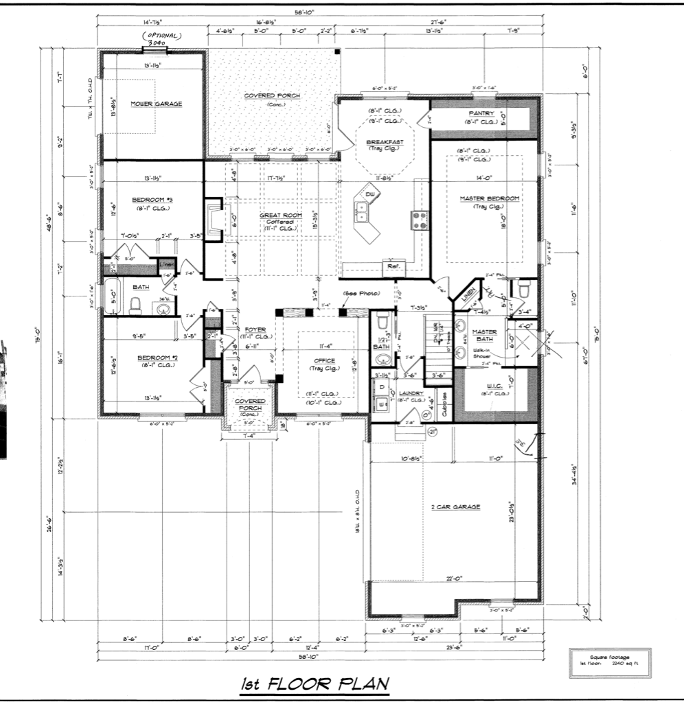 Floor Plan Without My Changes I Decided To Close The Office Wall Facing The Great Room And Moved The Bookcases To The Fo Kitchen Layout New Homes Floor Plans