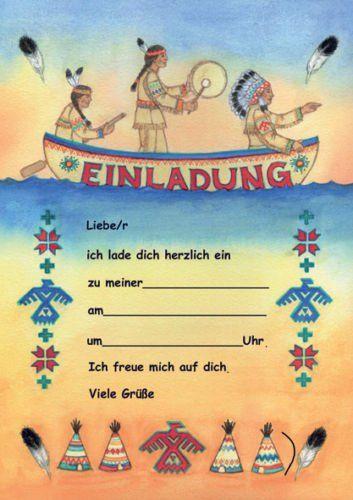 indianer einladungen kindergeburtstag geburtstag 12er-set neu, Einladung
