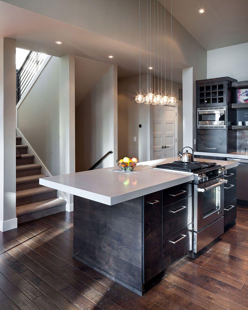 Modern Home In Eugene Oregon By Jordan Iverson Signature Homes Rustic Modern Kitchen Modern Kitchen Island Contemporary Kitchen