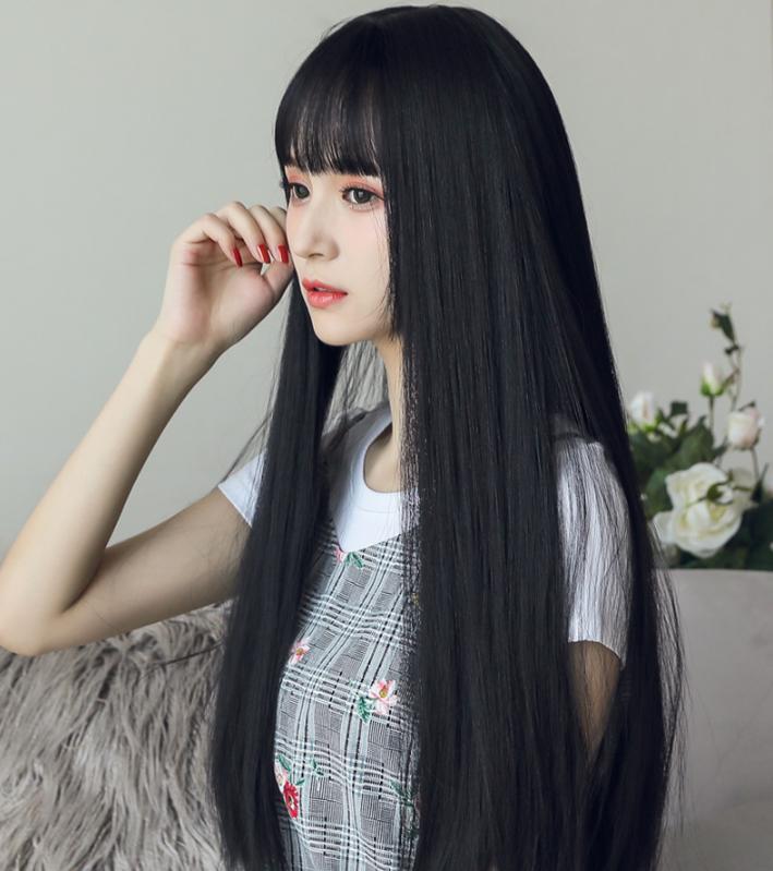 Black Long Straight Wig Yv42043 Long Straight Black Hair Long Hair Girl Long Hair With Bangs