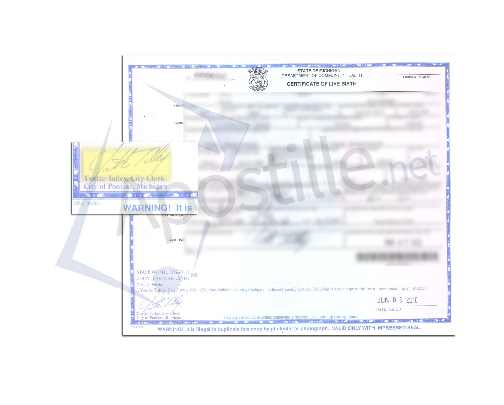 Oakland County State Of Michigan Birth Certificate Signed By Yvette