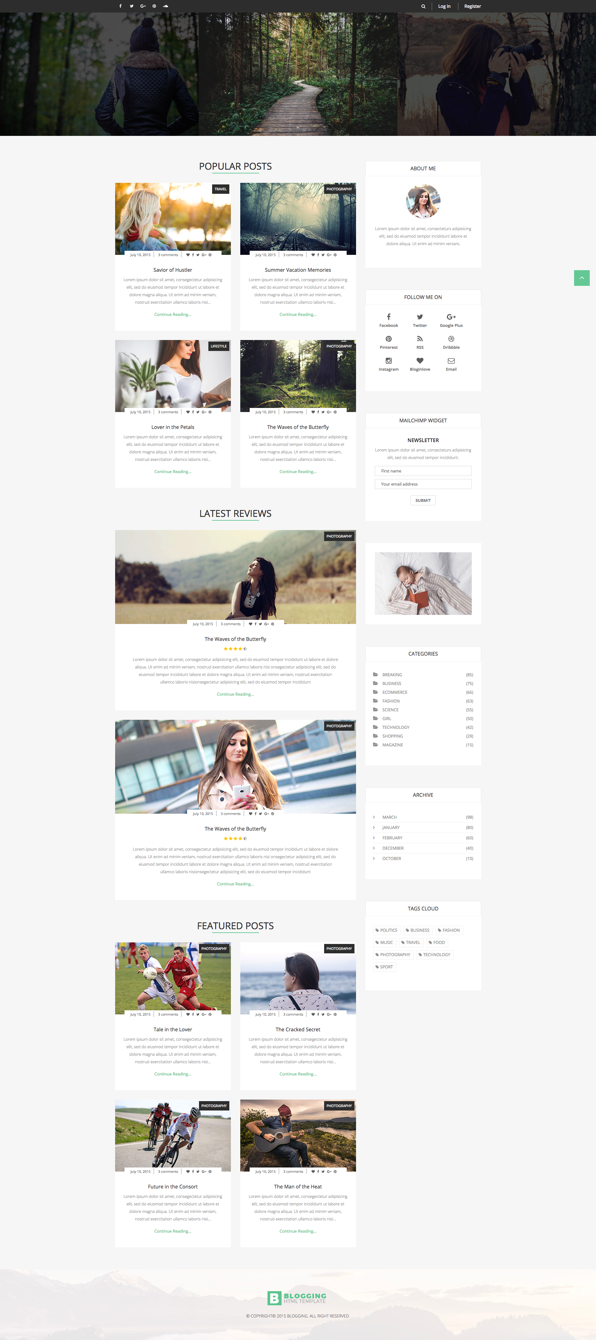 Blogging - Responsive Blog Template  The template has full-width
